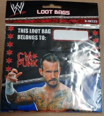 WWE Wrestling Loot Favor Bags 8 Count  CM PUNK Birthday Party • 1.42£
