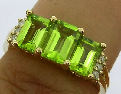 AU307.45 • Buy R227 Genuine 9K Or 18K Gold Natural Peridot & Diamond Trilogy Ring In Yr Size