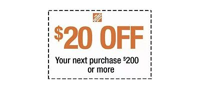 $3.75 • Buy Home Depot $20 OFF $200 Coupon ONLINE USE ONLY--Very-FAST_SENT--