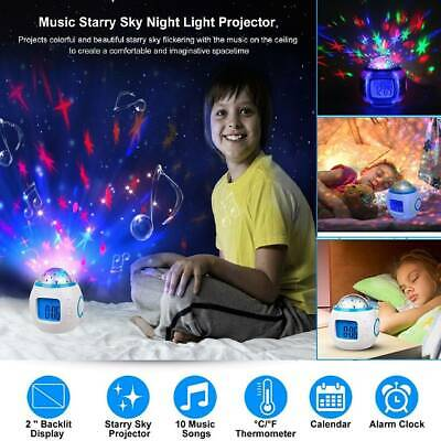Kid Music LED Star Sky Projection Digital Alarm Clock Calendar For Children Gift • 10.35£