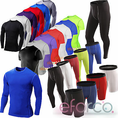 Mens Boys Compression Base Layer Top Pants Thermal Fitness Running Under Shirt • 10.09£