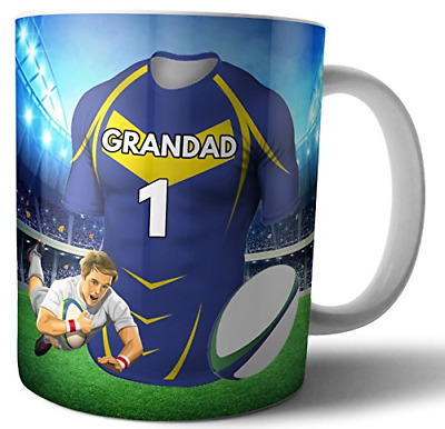 Tea Coffee Mug Rugby Gift For A Grandad - Leeds Rhinos Colours • 19.89£