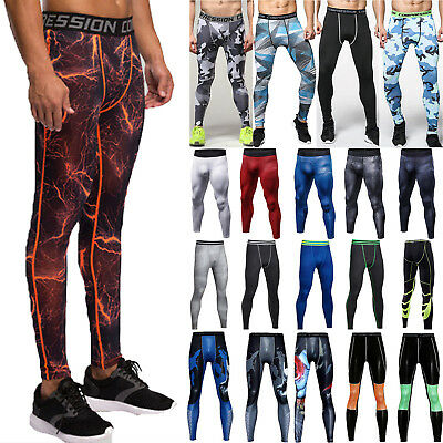 Mens Compression Base Layer Pants Leggings Sports Fitness Gym Running Trousers • 9.39£