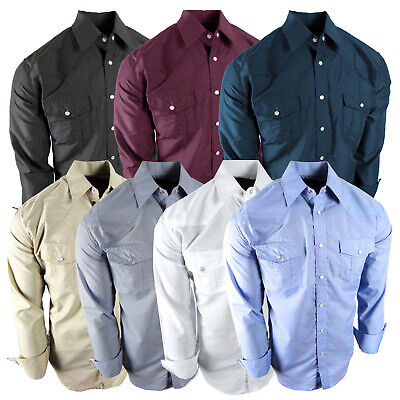 $25.95 • Buy Mens Western Rodeo Cowboy Shirt Color Match Stitch Design Pearl Snap Up Pockets