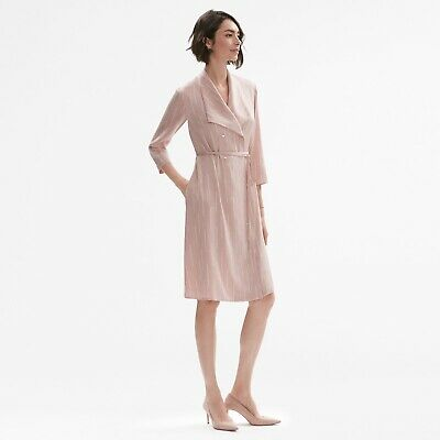 $ CDN134.12 • Buy NWT MM LaFleur Suzanne Trench Dress XL Morse Code Pink Blush Silk 3/4 Sleeve