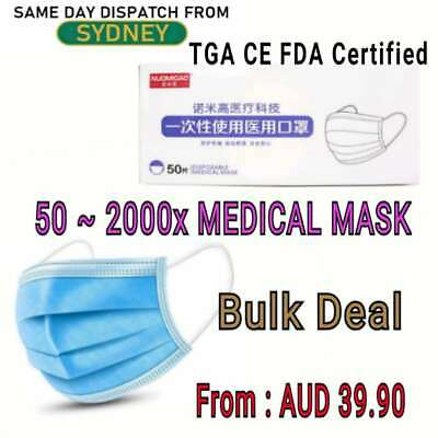 AU152.99 • Buy Disposable Face Mask Medical Surgica Protective Face Mask 50-2000pcs 3Ply TGA CE