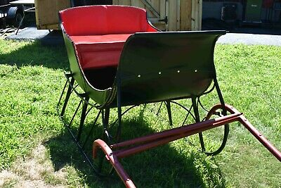 $2200 • Buy Antique Ice Cutter Horse Drawn Sleigh Black Red Sled