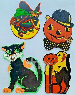 $ CDN89.01 • Buy Beistle Die Cut Halloween Characters (4) Black Cat Pumpkin Witch Vtg Made USA
