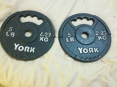 $ CDN80.36 • Buy 2 Pcs. YORK Weight Plates 5 Lb Handle Type Very GOOD Condition One Inch Holes