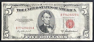 $ CDN17.44 • Buy 1953 A $5 Five Dollar Lincoln Bill Red Seal United States Note Circulated