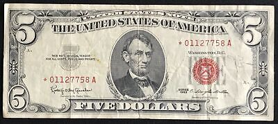 $ CDN17.44 • Buy 1963 $5 Five Dollar Lincoln Bill Red Seal United States Banknote Star Note VF/XF