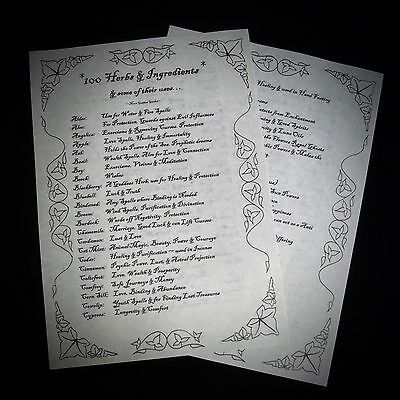 Witches 100 Herbs And Uses Information Posters Wicca Pagan Ritual Spells Altar • 2.99£