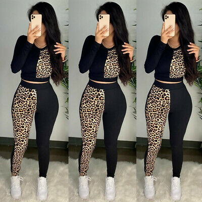 2Pcs Womens Tracksuit Leopard Crop Top Pants Set Lounge Wear Yoga Gym Sport Suit • 12.59£