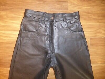 £44.99 • Buy K11 VTG BLACK THICK LEATHER JEANS ST BIKER ROCK TAPERED TROUSERS Sz 28 L 31