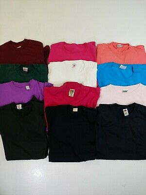 $ CDN99.99 • Buy Vintage T-shirt Lot Of 11 Wholesale Blanks Pocket Single Stitch Assorted Colours