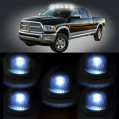 $25.79 • Buy 5x Top Cab Roof WHITE LED Lights + Cleared Marker Running Lamps Cover+ Base New