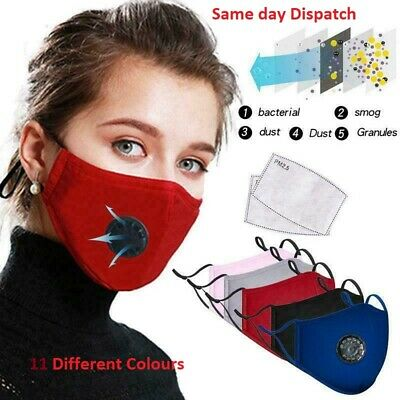 4 Layers Cotton Face Mask With Filter Air Valve Washable Reusable Breathable Uk • 3.99£