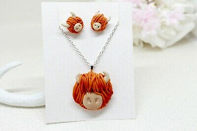 Highland Cow Jewellery Set | Polymer Clay Highland Cow Necklace | Handmade • 15£