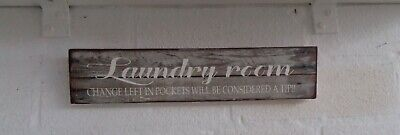 Rustic Laundry Sign Fun Shabby Chic Wooden Sign Plaque Free Standing • 5.99£