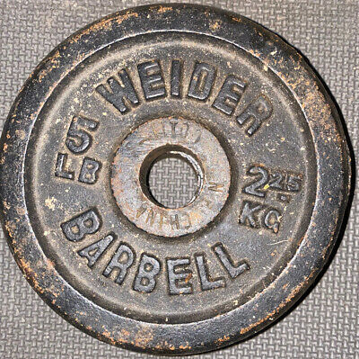 $ CDN26.78 • Buy (2) Vintage Weider 5 Lb Barbell Weight Plates Standard 1'' Hole 10 Lbs. Total