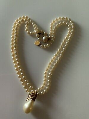 $75 • Buy VINTAGE DUCHESS FAUX PEARl DOUBLE STRAND NECKLACE W/ Mabe Pearl Clasp 925