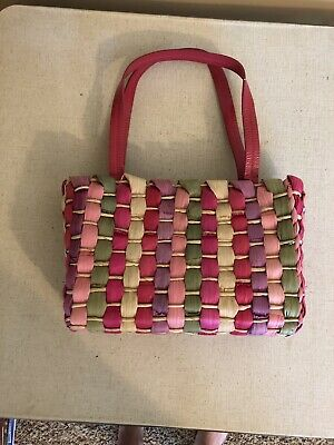 $35 • Buy Sigrid Olsen Purse. Woven Straw Multi Color. Inside Zippered Compartments. 8x12