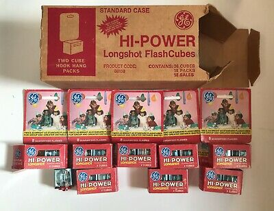 $38.25 • Buy Lot Of GE Hi-Power Longshot Flash Cubes 8 Packages In Dealer Box NOS