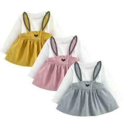Rabbit Toddler Baby Girls Dress Long Sleeve Party Casual Dresses Kids Clothes UK • 7.89£