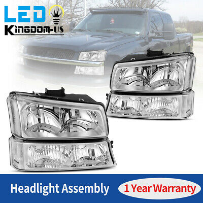 $67.99 • Buy For 03-06 Chevy Silverado Chrome Housing Headlights Headlamps Signal Lights Pair