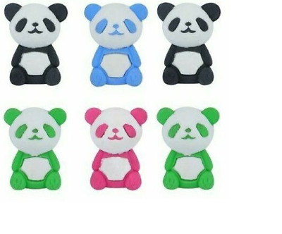 6 X PANDA Erasers Rubbers Girls Kids Novelty Party Bag Fillers School Stationery • 2.59£