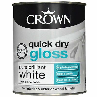 £10.49 • Buy Crown Quick Dry Gloss Pure Brilliant White Wood & Metal Paint 750ML
