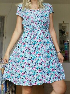 Peacocks Blue Floral Short Sleeve Dress Self Tie & Lace Back UK 12 Vintage Style • 12.99£