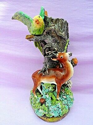 £145 • Buy Large Impressive Antique Majolica Vase With Stag Parrot & Flowers 14 1/2  Tall