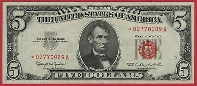 $ CDN92.63 • Buy 1963 $5 Red Seal United States Note Currency Star Note - Nice