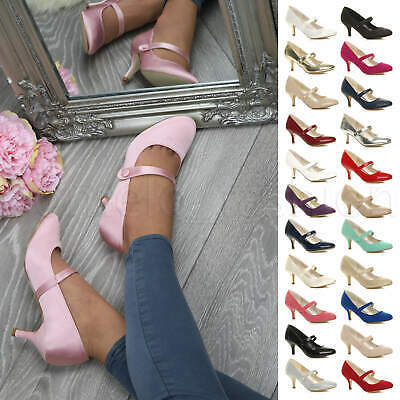 Womens Ladies Low Mid Heel Mary Jane Bridesmaid Wedding Prom Shoes Pumps Size • 19.99£