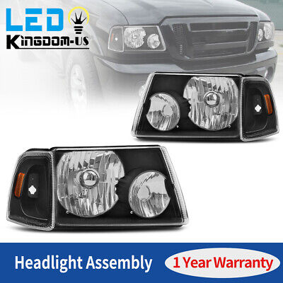 $65.98 • Buy For 2001-2011 Ford Ranger Black Housing Amber Corner Headlights Headlamps 01-11