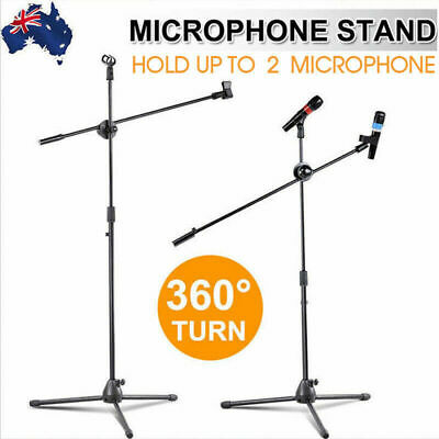 AU21.79 • Buy Adjustable Foldable Microphone Stand Mic Holder Tripod Two Clip Boom Fast Post