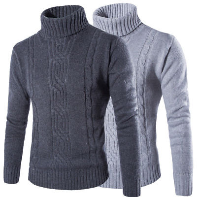 Mens Warm Knitted Roll Turtle High Neck Pullover Jumper Top Casual Cable Sweater • 15.67£