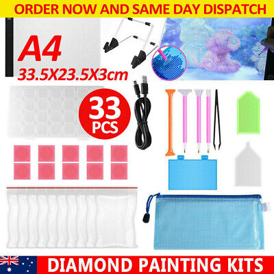 AU18.99 • Buy 5D Diamond Painting Tools DIY Art Craft + LED Pad Light Board With Stand Holder