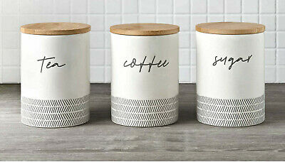 £16.98 • Buy NEW Set Of 3 Tea Sugar And Coffee Storage Canister Jars Bamboo Lid