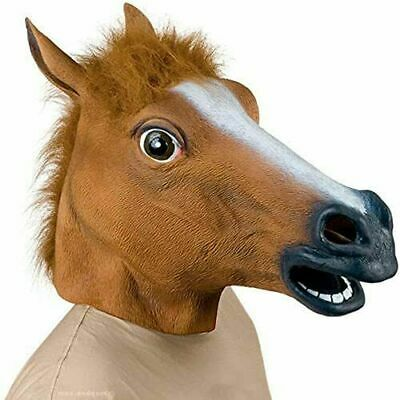 £5.99 • Buy Rubber Horse Head Mask Panto Party Fancy Dress Cosplay Halloween Adult Costume