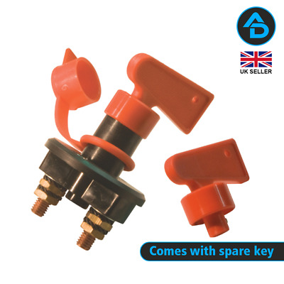 Battery Isolator Switch W/ Spare Key Continuous 100 Amps @12v - 50 Amps @24v • 7.50£
