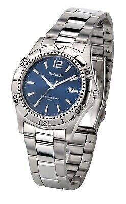 £34.99 • Buy Accurist Mens Watch With Blue Dial And Silver Strap MB1076N