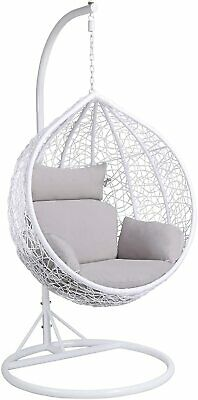 Rattan Hanging Relax Egg Chair Garden Rattan Swing Chair With Stand/Cushion/C • 399£