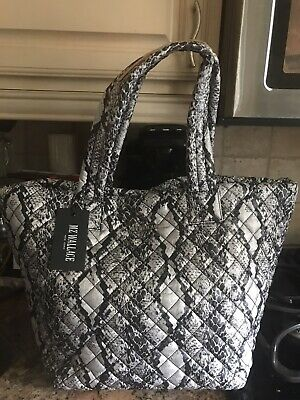 AU258.27 • Buy New MZ WALLACE  Gray Snake  Nylon Quilted Medium Metro Tote W Removable Pouch