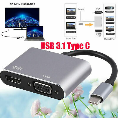 AU19.75 • Buy USB C To Hdmi Hub Adapter USB 3.1 Type C To Vga HDMI 4K UHD Converter Port HUB
