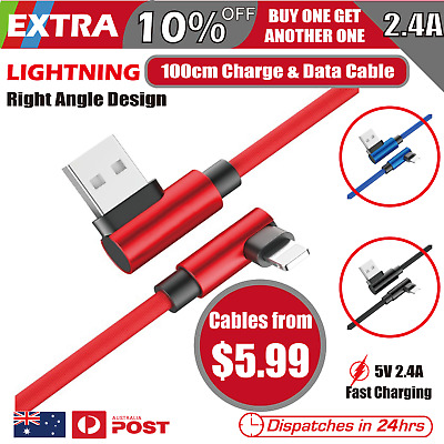 AU5.99 • Buy 90 Degree Right Angle USB Fast Charger Data Lightning Cable Fit IPhone IPod IPad