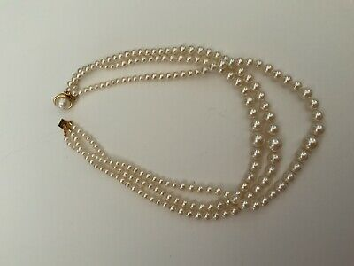 """$29.99 • Buy Vintage Triple Strand Graduated Faux White Pearls W/ Mabe Pearl Clasp  18"""""""