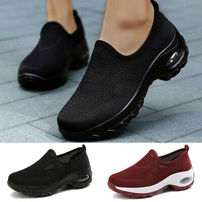 Womens Knit Trainers Air Cushion Slip On Breathable Sneakers Sport Running Shoes • 18.69£