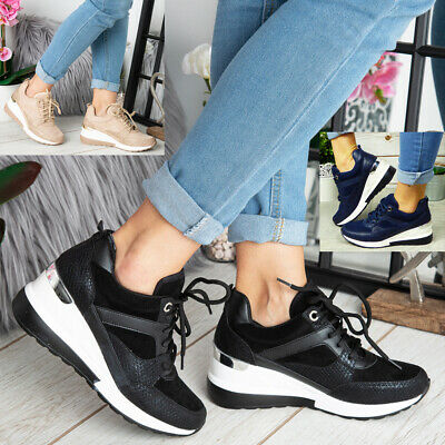 £19.99 • Buy Ladies Wedge Hidden Trainers Womens Sneakers Lace Up Comfy Classic Pumps Shoes